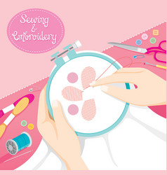 People hand sewing clothes in embroidery hoop vector