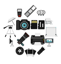 photo studio equipment icons set flat style vector image