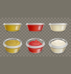 plastic containers for sauces realistic set vector image