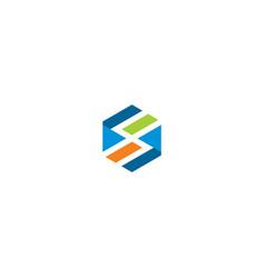 polygon shape colorful line technology logo vector image