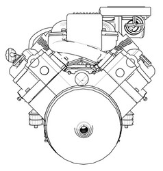 powerful car engine the engine is drawn with vector image