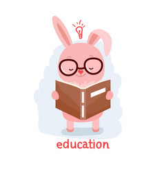 rabbit reading a book vector image