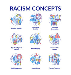 Racism concept icons set vector
