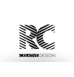 Rc r c lines letter design with creative elegant vector
