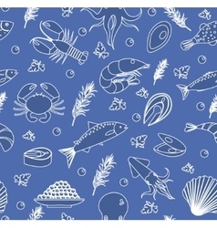 Seafood seamless pattern Fish food endless vector