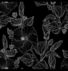 Seamless pattern white line hibiscus flowers vector