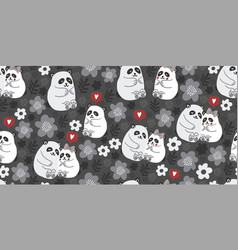 seamless pattern with cute pandas couples in love vector image