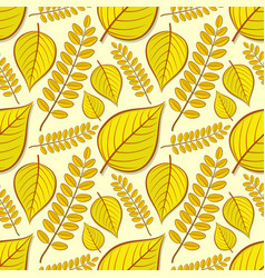 seamless pattern with linden and acacia leaves vector image