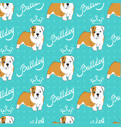 seamless pattern with puppy bulldog on blue vector image