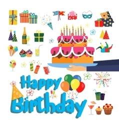 set birthday party elements designer vector image