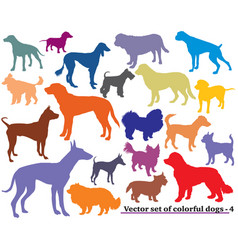 Set colorful dogs silhouettes-4 vector