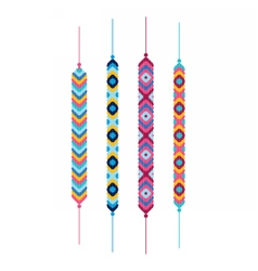 Set of multicolor friendship hippy bracelets vector
