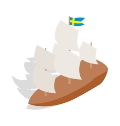 Ship with swedish flag icon isometric 3d style vector