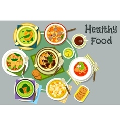 Soup dishes for healthy lunch menu icon vector image