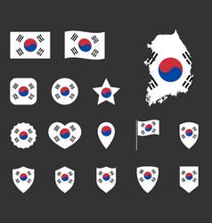 south korea flag icons set flag of republic vector image