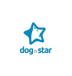 star white dog wolf fox hound head logo vector image
