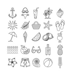 summer icons set outline holiday black sketch vector image
