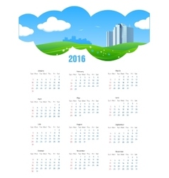 Summer Theme 2016 Calendar vector image