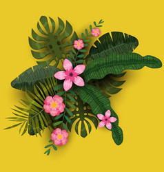 summer trendy template exotic plants and hibiscus vector image