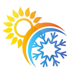 sun and snowflake air conditioning symbol vector image