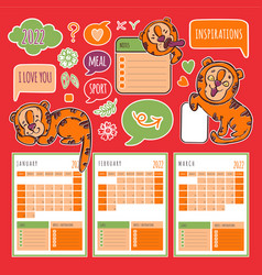 Tiger planner winter 2022 printable and cutting vector