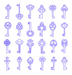 Vintage antique key collection isolated on white vector