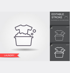 washing clothes line icon with editable stroke vector image