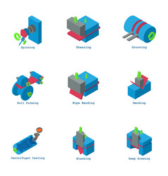 Water engineering icons set isometric style vector