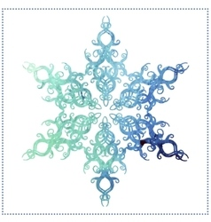 watercolor elegant snowflake on a white background vector image