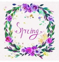 watercolor wreath floral frame design vector image