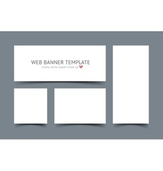 Web banners with shadow set isolated on dark gray vector