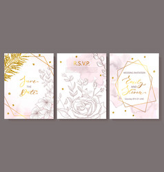 wedding invitation cards with watercolor texture vector image