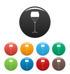 Wine glass icons set color vector