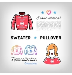 Winter sweater thin line icons christmas pullover vector