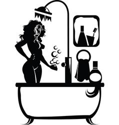 Woman in a bath vector