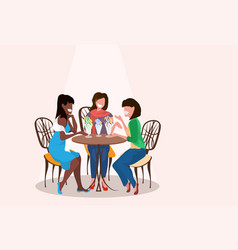women friends sitting cafe eating ice cream female vector image
