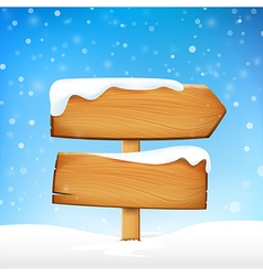 Wooden sign blank board and winter snow with copy vector image