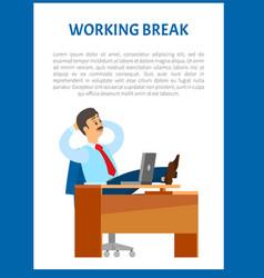 working break boss resting in office legs on table vector image