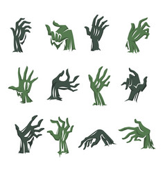zombie hand from grave halloween symbol isolated vector image