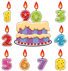 birthday candles and cake vector image vector image