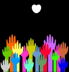 Colorful up hands with white heart background vector image