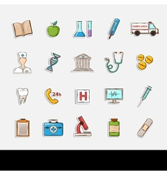 Doodle Healthcare icons vector image vector image