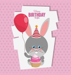 happy birthday bunny cartoon card vector image