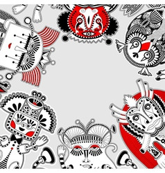 Original modern cute ornate doodle fantasy monster vector