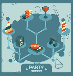 party color isometric concept icons set vector image vector image