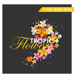 Tropical Flowers Graphic Design - for t-shirt vector image