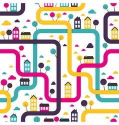 Background seamless pattern with abstract town vector image vector image
