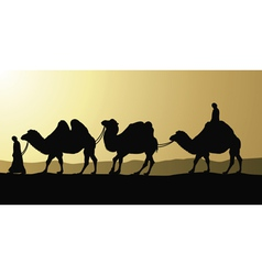 camels and bedouins vector image vector image