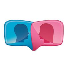Colorful relief rectangular speech with dialogue vector