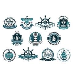Dark blue nautical labels vector image vector image